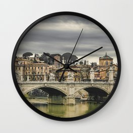 Tiber River Rome Cityscape Photo Wall Clock