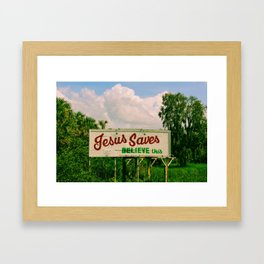 Jesus Saves Framed Art Print