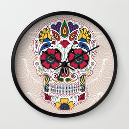 Day of the Dead Sugar Skull Light Wall Clock