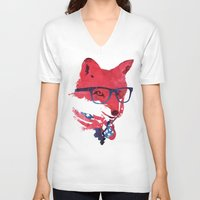 american V-neck T-shirts featuring American Fox by Robert Farkas