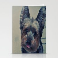 yorkie Stationery Cards featuring yorkie by michaelchon