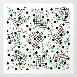 Retro Memphis 80's Disco Confetti Design Pattern Art Print