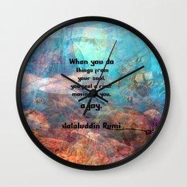 Rumi Inspirational JOY Quotation With Underwater Ocean Scene Wall Clock