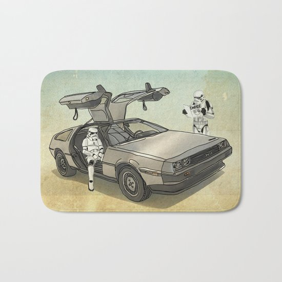 Lost, searching for the DeathStarr _ 2 Stormtrooopers in a DeLorean  Bath Mat