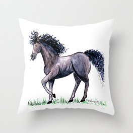 Moody Mare Throw Pillow