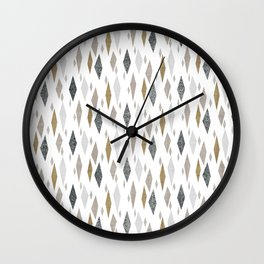 Danish Diamond Mid-Century Geometric Print Tan Wall Clock