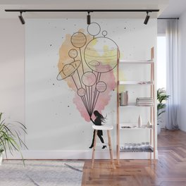 Walking in Space (Warm Colors) Wall Mural
