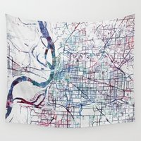 memphis Wall Tapestries featuring Memphis map by MapMapMaps.Watercolors