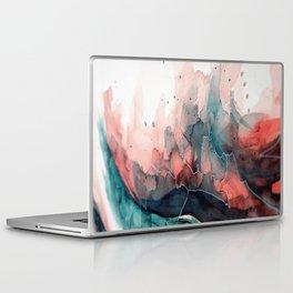 Watercolor dark green & red, abstract texture Laptop & iPad Skin