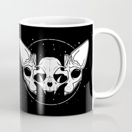 Sphynx Cat and Its Skull - dark art - black and white Coffee Mug