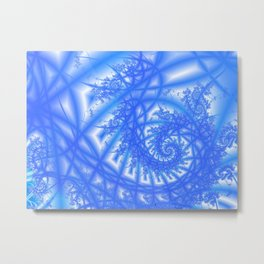 Venetian Lace in Light and Medium Blues Metal Print