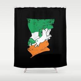 Distressed Irish Flag Unicorn St Patricks Shower Curtain