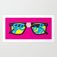 geek Art Prints featuring Geek by Aaron Synaptyx Fimister