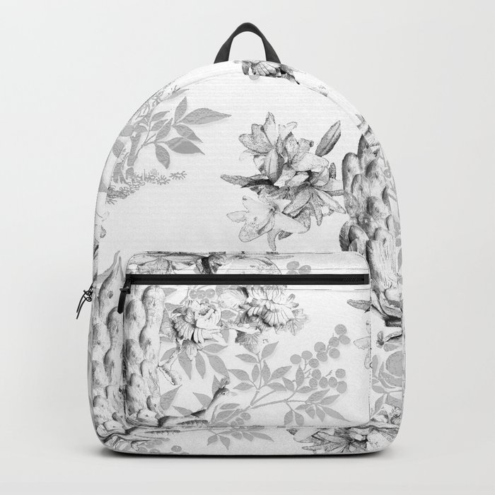 PEACOCK LILY TREE AND LEAF TOILE GRAY AND WHITE PATTERN Backpack