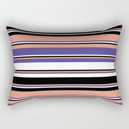 Dark Salmon, Dark Slate Blue, White & Black Colored Striped Pattern Rectangular Pillow
