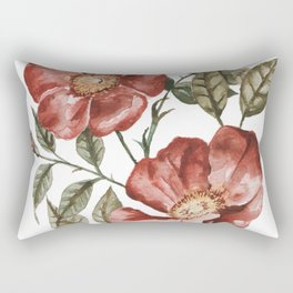 Red Floral Painting Rectangular Pillow