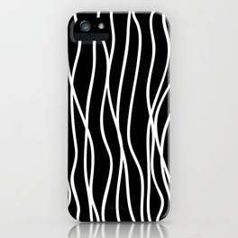 White lines on black background iPhone Case