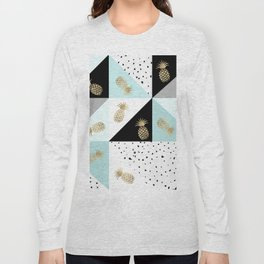 Pastel color block watercolor dots faux gold pineapple Long Sleeve T-shirt