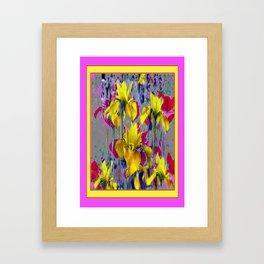 Wild Mustard Yellow Iris Fuchsia-Purple-Pink Pattern Abstract Framed Art Print