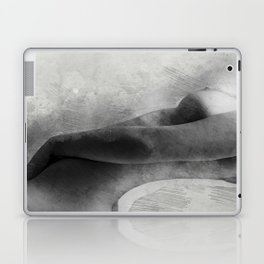 Time for Myself. Nude woman pencil and watercolor portrait Laptop & iPad Skin