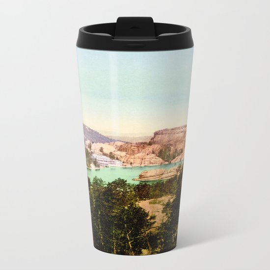 Forest mountains Lake Vintage Scenery Metal Travel Mug