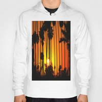 striped Hoodies featuring Striped Sunset by Flattering Images