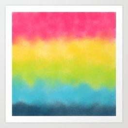 Pink yellow lime green aqua watercolor stripes Art Print