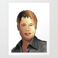 Portrait of Brad Pitt Art Print