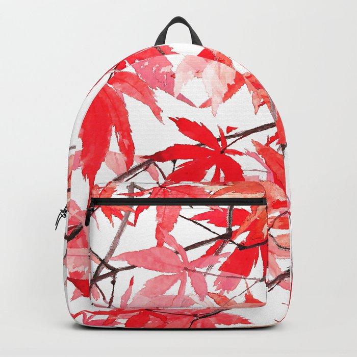 red orange maple leaves watercolor painting 2 Backpack