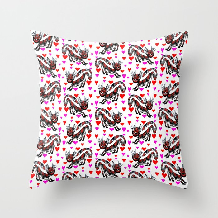Red Sneaky Cat Throw Pillow