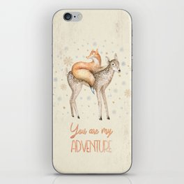You are my adventure- fox and deer in winter- merry christmas iPhone Skin
