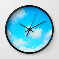 clouds Wall Clocks featuring Clouds by 2sweet4words Designs