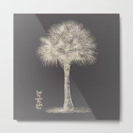 Palm tree - botanical silver illustration Metal Print