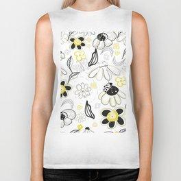 Flower Daisies Abstract Designed Pattern Biker Tank