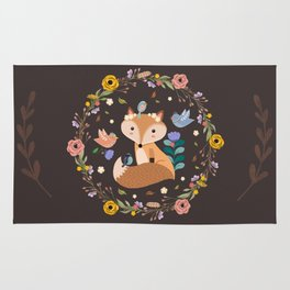 Little Princess Fox With Friends And Foliage Rug