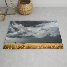 Cotton Candy - Storm Clouds Over Wheat Field in Kansas Rug
