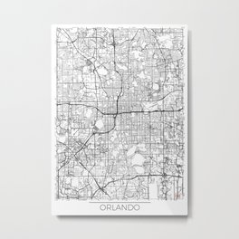Orlando Map White Metal Print