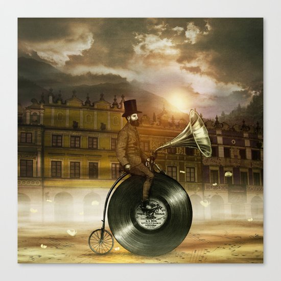 Music Man in the City, by Eric Fan and Viviana González Canvas Print