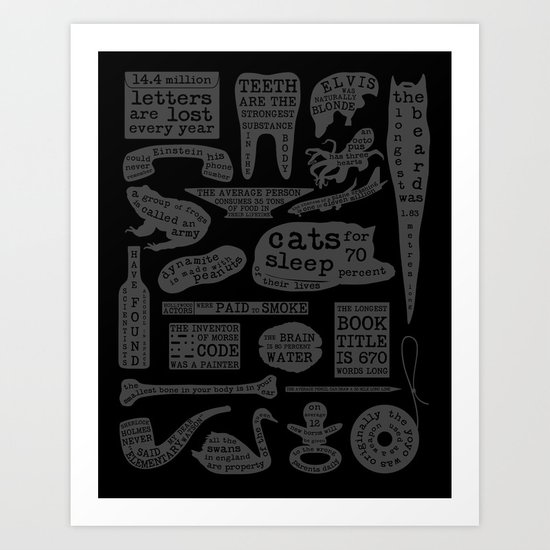Useful Facts (On Black) Art Print