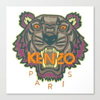 kenzo Canvas Prints featuring Kenzo Tiger with seams by cvrcak