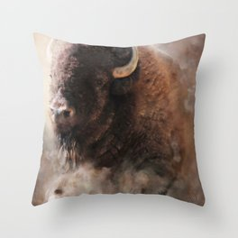 When The Dust Settles - Bison Throw Pillow