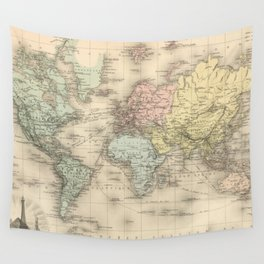 Vintage Map of The World (1892) Wall Tapestry