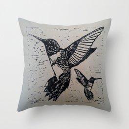 Humming birds lino print Throw Pillow