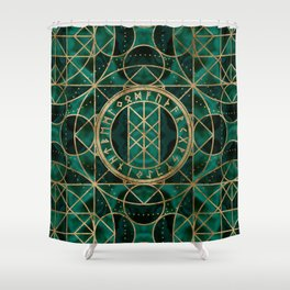 Web of Wyrd The Matrix of Fate - Gold and Malachite Shower Curtain