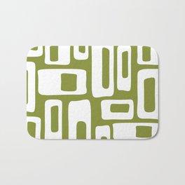 Retro Mid Century Modern Abstract Pattern 335 Olive Green Bath Mat