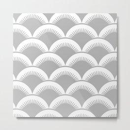 Japanese Fish scales Grey Metal Print