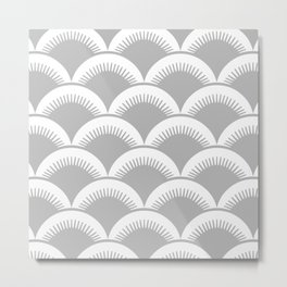 Japanese Fan Pattern Gray Metal Print