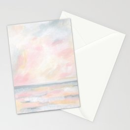 Patience - Pink and Gray Pastel Seascape Stationery Cards