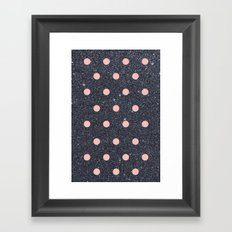 Black Glitter and Pink Polka Dots Framed Art Print