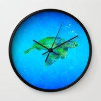 sea turtle Wall Clocks featuring Sea Turtle  by MacDonald Creative Studios